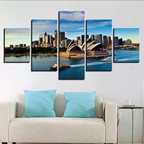 (Wiwhy Leinwand Wandkunst Bilder Home Decor Für Wohnzimmer 5 Stücke Sydney Opera House Wasser Landschaftsmalerei Hd Druckt Poster S-20X35/45/55Cm,With Frame)