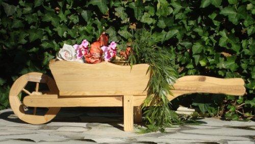 hundeinfo24.de Holz-Schubkarre zum Bepflanzen, Blumentöpfe, Pflanzkübel, Pflanzkasten, Blumenkasten, Pflanzhilfe, Pflanzcontainer, Pflanztröge, Pflanzschale, Kleine Schubkarren 85 cm mit Holz – Deko HSC-85-NATUR Blumentopf, Holz, No 1 HOLZ NATUR HELL ideal für Holzhäuser Fertighäuser und Eingänge Pflanzgefäß, Pflanztöpfe Pflanzkübel