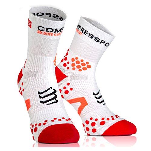 COMPRESSPORT Laufsocken Racing Socks v2.1 Run HIGH Weiß/Rot, 35-38 - Nouveau Pro-36