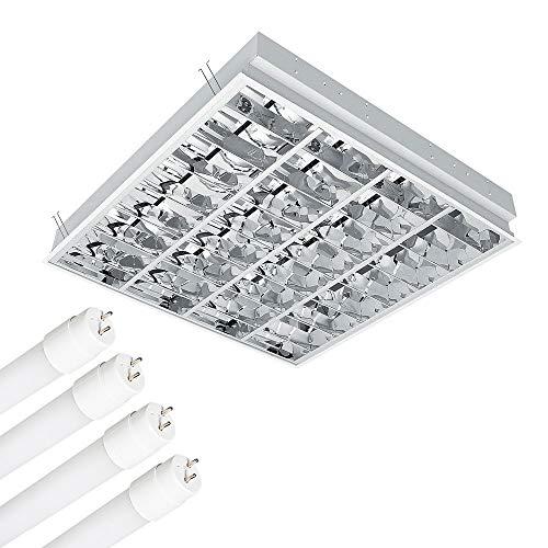 Rasterleuchte inkl 4x 10 Watt LED Röhre 6400K Tageslicht, Einlegeleuchte, Deckenleuchte mit Doppelparabolraster (BAP) 4×800 lm, Büroleuchte, Deckenlampe, Bürolampe,