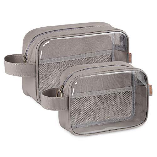GAGAKU Kulturbeutel Transparent Durchsichtig Kulturtasche Makeup Tasche Kosmetiktasche Set für Reise (Grau) -