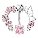 Rosa Schmetterling Kristall Blume Bauchpiercing Nabelpiercing Bauchnabelpiercing 316L Chirurgenstahl