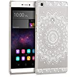kwmobile Elegante y ligera funda Crystal Case Diseño flor para > Huawei P8 < en blanco transparente
