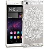 kwmobile Funda para Huawei P8 - Case plástico para móvil - Cover trasero Diseño flor en blanco transparente