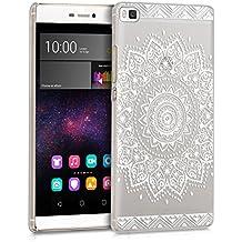 kwmobile Elegante y ligera funda Crystal Case Diseño flor para Huawei P8 en blanco transparente