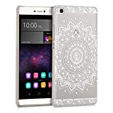 kwmobile Hülle für Huawei P8 - Crystal Case Handy Schutzhülle Kunststoff - Backcover Cover klar Blume Design Weiß Transparent
