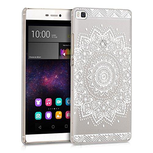 kwmobile Crystal Case Hülle für Huawei P8 mit Blume Design - transparente Schutzhülle Cover klar in Weiß Transparent