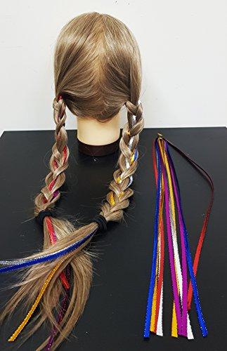 Takestop® set 20 pezzi fili filo colorati fascia extension lunga 95cm coda codini treccia trecce ferma capelli colore casuale