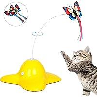 Tacobear Katzenspielzeug Elektrisch drehendes Katzenspielzeug Beschaftigung Katzenspielzeug Intelligenzspielzeug mit zwei Schmetterlinge Interaktives Katze Spielzeug
