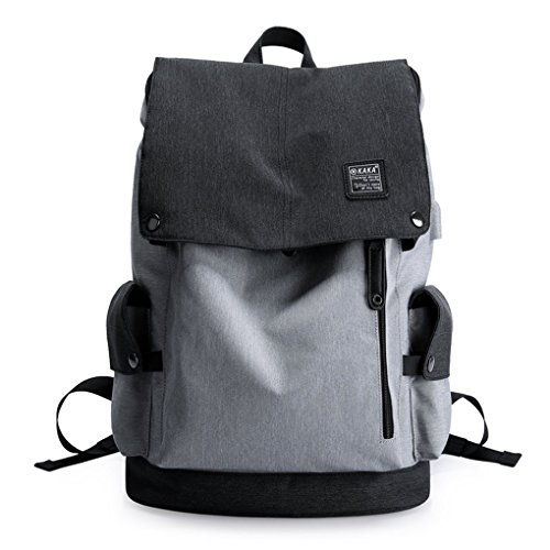 Cornasee Wasserdicht Laptop Rucksack 15,6 zoll Leinwand Daypack Casual Schulrucksack , Kapazität 23L Schwarz schwarz / grau