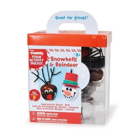 8 Foamies Snowbells and Reindeer Bell Necklace Foam Christmas Craft Activity Bucket Kit -