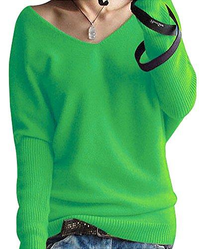 Shallgood Damen Mode Kaschmir Pullover Sexy Lose Große Langen Ärmeln V-Ausschnitt Fledermausflügel Herbst Und Winter Ärmel Pullover Grün DE 38