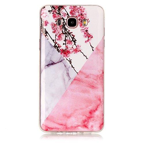 Cozy Hut Für Samsung Galaxy J7 2016 Handyhülle mit Marmor / Marble Design(Rosa / Weiß) | Handytasche | | Schale | | Hülle | | Case | Handy-etui | TPU-Bumper | Soft Case | Schutzhülle Cover für den optimalen Schutz ihres Samsung Galaxy J7 2016(SM-J710) 5,5 Zoll - Rosa weißer Pflaumenblütenmarmor