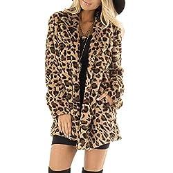 Damen Leopard Parka Kunstpelz Mit Tasche Fuzzy Warm Coat Winter Langarm Winterjacke Frauen Übergroße Outwear Langer Mantel Casual Outlet Faux Fur Jacke Leo Pullover Oversize