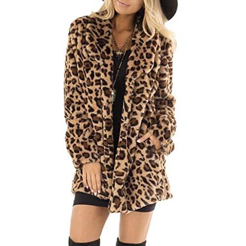 Xinantime Abrigos Mujer Invierno Largos, Abrigo Suelta Tallas Grandes Jersey De Mujers Abrigo Largo de Piel Sintética de Leopardo de Bolsillo Abrigo Extragrande de Invierno Cálido