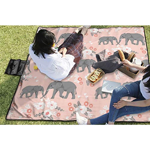 BigHappyShop Picnic Blanket Safari Quilt Pink Elephants with Florals Animals Cute Coordinate Waterproof Extra Large Outdoor Mat Camping Or Travel Easy Carry Compact Tote Bag - Floral Quilt Backing