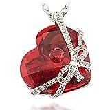 Meranu Bunte Herzkette Damen-Kette Silber Glas-Kristall Halskette mit Herz-Anhänger Geschenk-Schleife - Feuer Opal-rot - 42cm