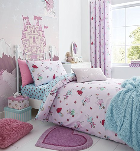Catherine Lansfield Fairies Easy Care Double Duvet Set Pink