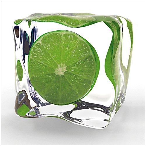 Artland Qualitätsbilder I Glasbilder Deko Glas Bilder 20 x 20 cm Ernährung Genuss Lebensmittel Obst Foto Grün A5LN Limette im Eiswürfel