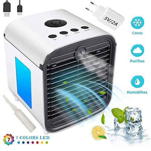 Air Portable Cooler Luftkühler Mobile Klimageräte - 3 in 1 Mini Luftbefeuchter und Luftreiniger, Tischklimaanlage Ventilator, Leakproof, New Filter Paper (3 Generation-Upgrade + Adapter)
