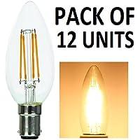 Supacell–Set di 12lampadine LED filamento candela–B15/SBC/tappo a baionetta piccola–4W–bianco caldo 2700K/470lumen/classica finitura in vetro/30,000ore di vita media/dimmer/SKU: SLCCSBC4FX12