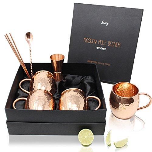 Amazy Moscow Mule Set de Regalo – Juego de 4 tazas de cobre hechas a mano con medidor, cuchara para barman y 4 pajitas de cobre para disfrutar de una refrescante bebida