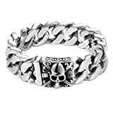 Urban-Jewelry Urban Schmuck Einzigartige 23cm Herren Edelstahl Silber Totenkopf Kopf Link Kette Armband