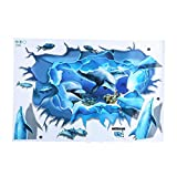 Fdit Dolphin Wandaufkleber Wasserdicht 3D Selbstklebende Dolphin Wandaufkleber Schlafzimmer Küche Badezimmer Dekoration, 90x60 cm / 35,43 x 23,62