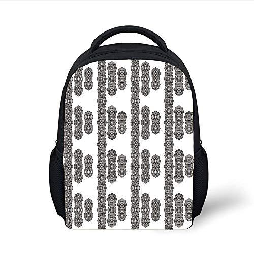 Black Mosaic Tile (Kids School Backpack Henna,Asian Eastern Culture Round Mandala Spiritual Symbols Moroccan Ornament Mosaic Tile Decorative,Black White Plain Bookbag Travel Daypack)