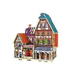 Creative Assemble Puzzle Toys Child Early Education Wooden 3D Puzzle House France Hotel