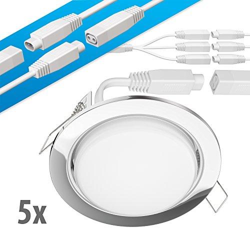 ledscom.de LED Decken-Einbaustrahler Ruba Chrom GX53 6,3W 450lm warmweiß rund flach 107mm Ø Lochkreis ca. 83-100mm Ø 5er Set