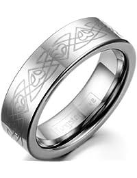 JewelryWe joyería 6 mm ancho carburo de tungsteno para mujer-Ring con láser grabado confíes compromiso anillos…
