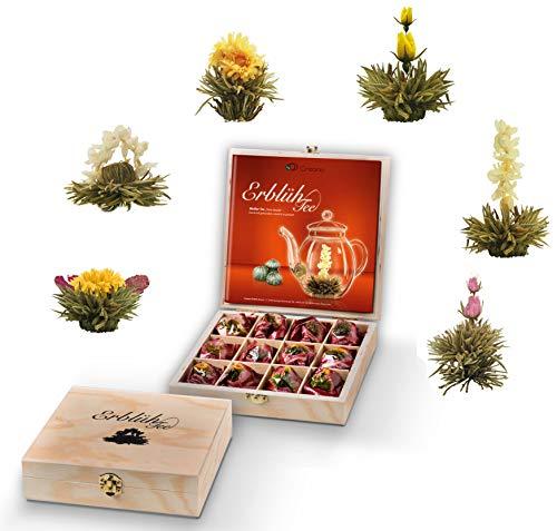 Creano Teeblumen Geschenkset in Teekiste aus Holz, 12 ErblühTee Frühjahrslese in 6 Sorten   Weißer Tee