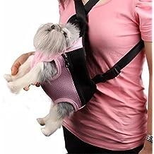 ewinever(TM) Carrier viaje del perro doméstico del gato delantero neto Bolsa Mochila Pequeña Rosa