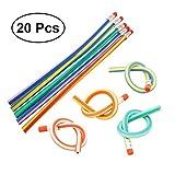 NUOLUX 20pcs Crayons à papier Flexible avec gomme