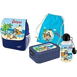 Mein zwergenland Set de 5 Mochila con Fiambrera, Bolsa de Gimnasio y Botella Happy KNIRPS Next Imprimir con Nombre Azul - Pirata,
