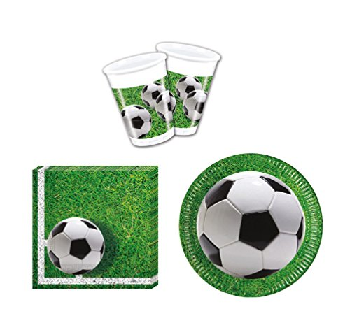 52 Teile Party-Geschirr Set Fußball Garten-Party - Teller Becher Servietten für 16 Personen Garten Teller