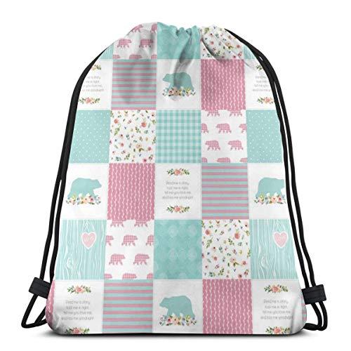 best& Pink U0026 Aqua Bears Patchwork - Woodland Quilt Top Wholecloth Baby Girl Nursery, Pink U0026 Aqua_10366 3D Print Drawstring Backpack Rucksack Shoulder Bags Gym Bag for Adult 16.9