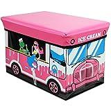 Klappbarer Polsterhocker mit Staufach für Kinder 49x31x31cm, Motiv Ice Cream, Kunstleder, Hocker Klapphocker Sitzwürfel Sitzhocker Aufbewahrungsbox Spielkiste