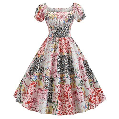 Vintage 50er Jahre Kleid Damen FRAUIT Kurzarm Drucken Abendkleider Lang Prinzessin Kleid Gothic Partykleid Familienkleid Gäste Unterhalten Kleid (Jahre Für 20er Kleider Verkauf)