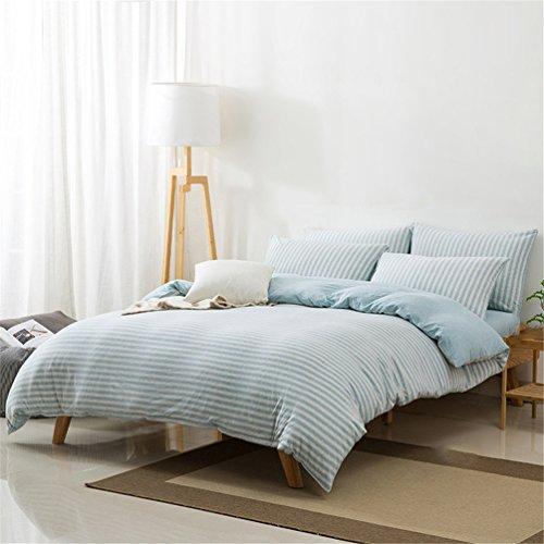 SHENHAI Keine bedruckter Baumwolle Stricken Familie von Vier einfacher Baumwoll-Bettwäsche, 2 Metern, die Aqua-Bar