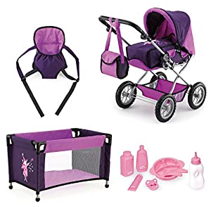Bayer Design 46 - 75 cm Dolls Pram Combi Grande Set with Bag/ Travel Cot/ Dolls Carrier and Tableware, Purple