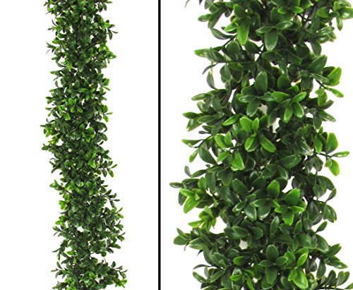 Künstliche Buchsgirlande mit 486 UV geschützte Blätter 180cm - künstliche Girlanden, Kunstgirlanden Girlande aus Kunststoff Dekogirlanden --> großes Kunstblumen Sortiment