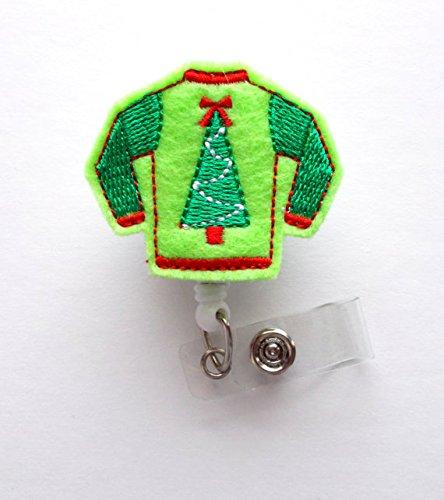 Ugly Weihnachten Pullover Grün-Retractable ID Filz Badge Holder-Weihnachten Badge Reel-Krankenschwestern Badge Holder-Medical Badge-Teacher Badge-Filz Badge Reel Alligator-sweatshirt