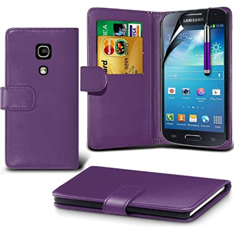 (Viola) Samsung Galaxy S4 Mini i9190 personalizzato progettato Accessori alla moda per scegliere Da protettiva Carta di Faux di Credito / Debito Custodia Leather Style libro del raccoglitore della copertura della pelle, schermo di tocco penna stilo a scomparsa e schermo LCD proteggi By Spyrox