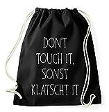 Top 10 Sprüche & Designs auswählbar / Sambosa Turnbeutel mit Spruch / Beutel: Schwarz / Rucksack / Jutebeutel / Sportbeutel / Hipster , Bag:Klatschtit
