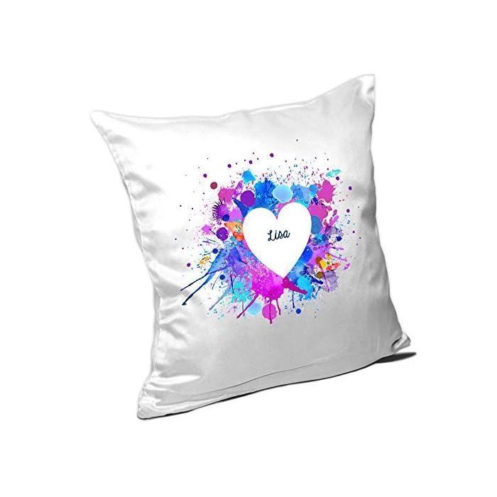 Kissen mit Namen Lisa und schönem Motiv mit Wasserfarben-Herz zum Valentinstag - Namenskissen - Kuschelkissen…