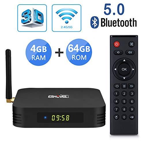 ESHOWEE TV Box TX6 Quad Core 4K UHD de Android 9.0 RAM 4GB DDR3 ROM 64GB Dualband WiFi BT 5.0, Schwarz