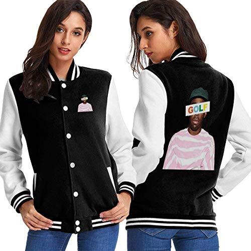 BAQQC Damen Jacken, Mäntel, Sportbekleidung, Golf Wang Tyler The Creator Rap Women's Varsity Baseball Hoodie Jacket Outerwear Coat