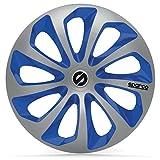 SPARCO SPC1673SVBL Sicilia 4 Stück Radzierblenden, Silber/Blau, 4 Stück, 16'